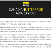 Recruta Canada Inc gets nominated for Canadian Enterprise Awards 2017